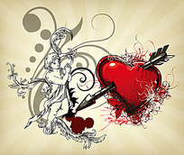 天使和穿过利箭的红心矢量素材
