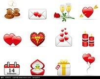 信件和心形礼盒等构成的矢量图标