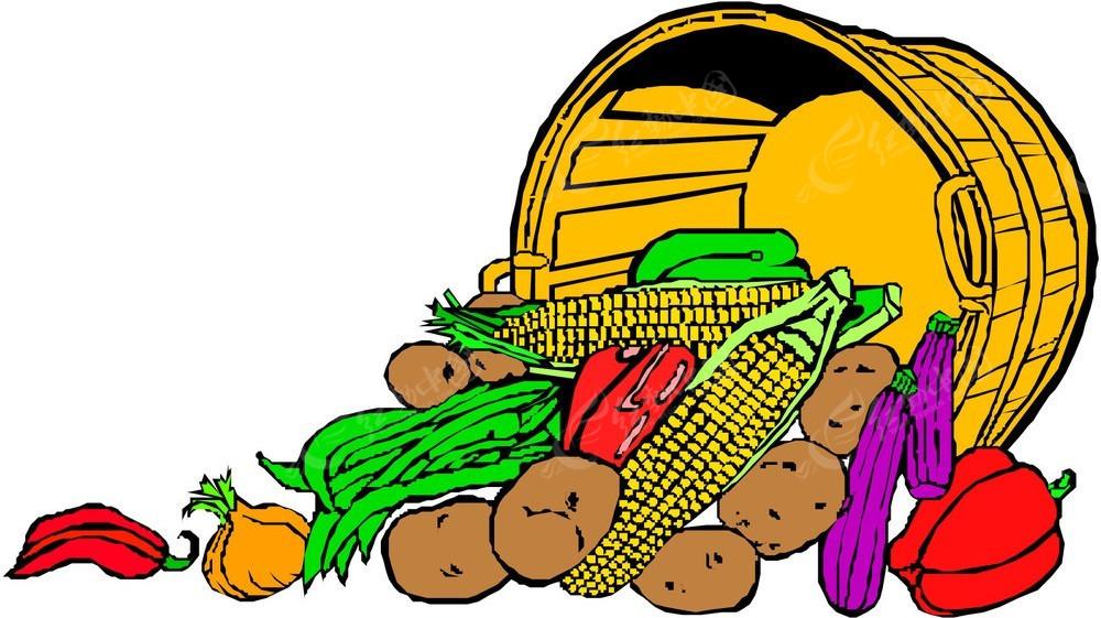 免费素材 矢量素材 生活百科 蔬菜水果 一筐蔬菜手绘线描画  请您分享