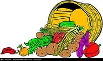 一筐蔬菜手绘线描画