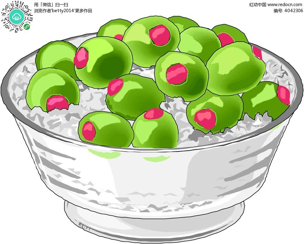 一碗米饭蔬菜手绘画