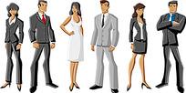 站立的不同姿势的商务人士
