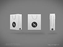 白色简约手提袋设计