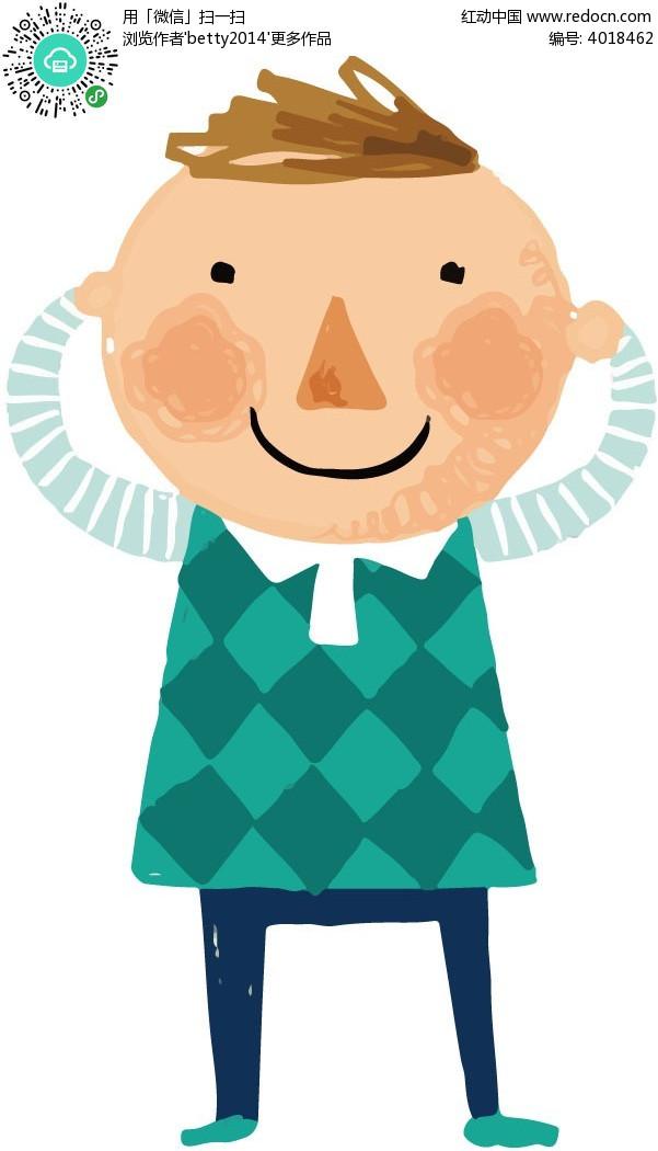 穿蓝格子衣服的卡通小男孩