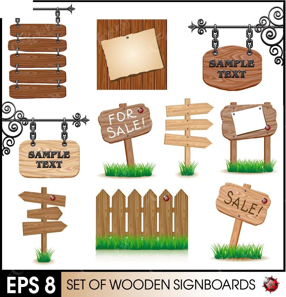 各种不同的木牌矢量素材