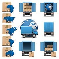 货车和纸箱以及地图等矢量图标