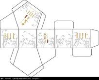 清新竹背景包装刀模图