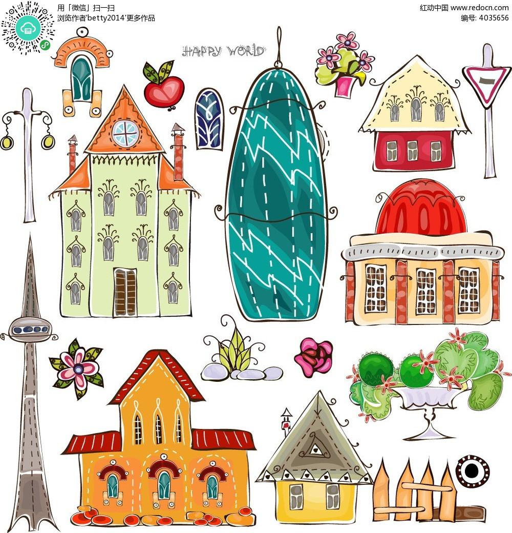 手绘建筑物和花朵等矢量素材