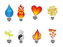 水滴和心形等矢量灯泡标志