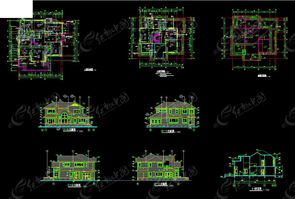 小型别墅建施设计cad图纸