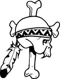 印第安装饰的骷髅头矢量素材