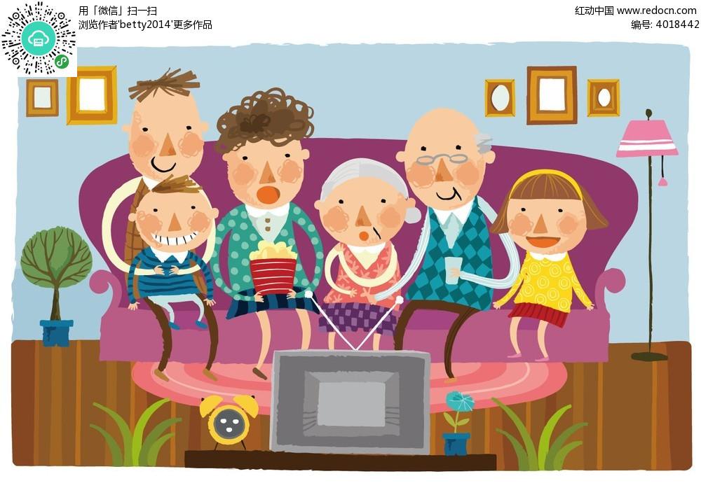 坐在沙发上看电视的一家人eps素材免费下载_红动网