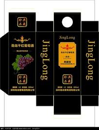 黑色背景劲龙干红葡萄酒包装设计