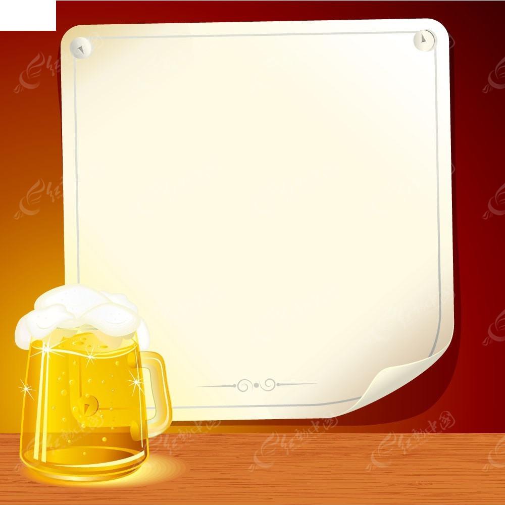 啤酒杯子和卷起一角的纸张EPS素材免费下载 红动网