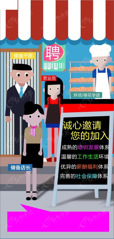 手绘插画背景面包店招聘海报