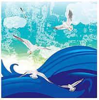 海浪上方的白色海鸟