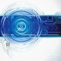 环形和电路板构成的蓝色矢量背景