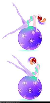 健身球上舞蹈的插画美女
