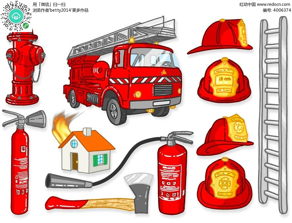 消防车和消防栓等矢量元素AI素材免费下载 红动网