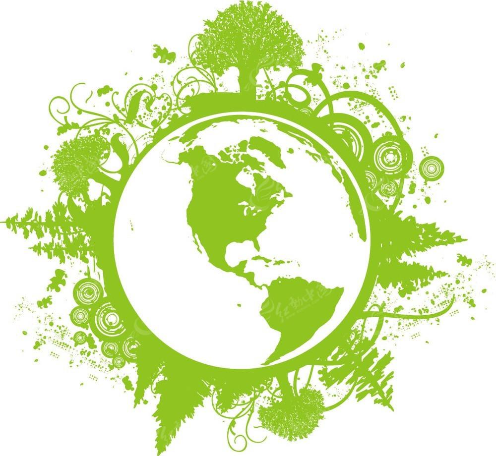 地球树纹边框矢量素材