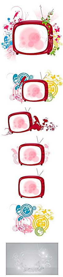飞鸟和墨渍等装饰电视矢量边框
