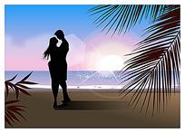 海边拥抱的情侣剪影手绘插画