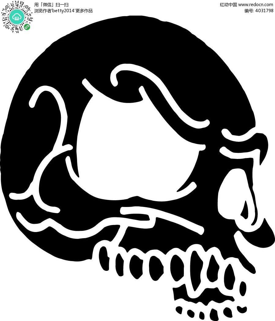 黑白骷髅头侧面手绘画