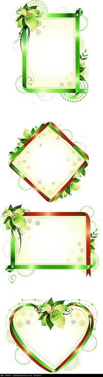 花朵叶子装饰矢量边框矢量图_花纹花边