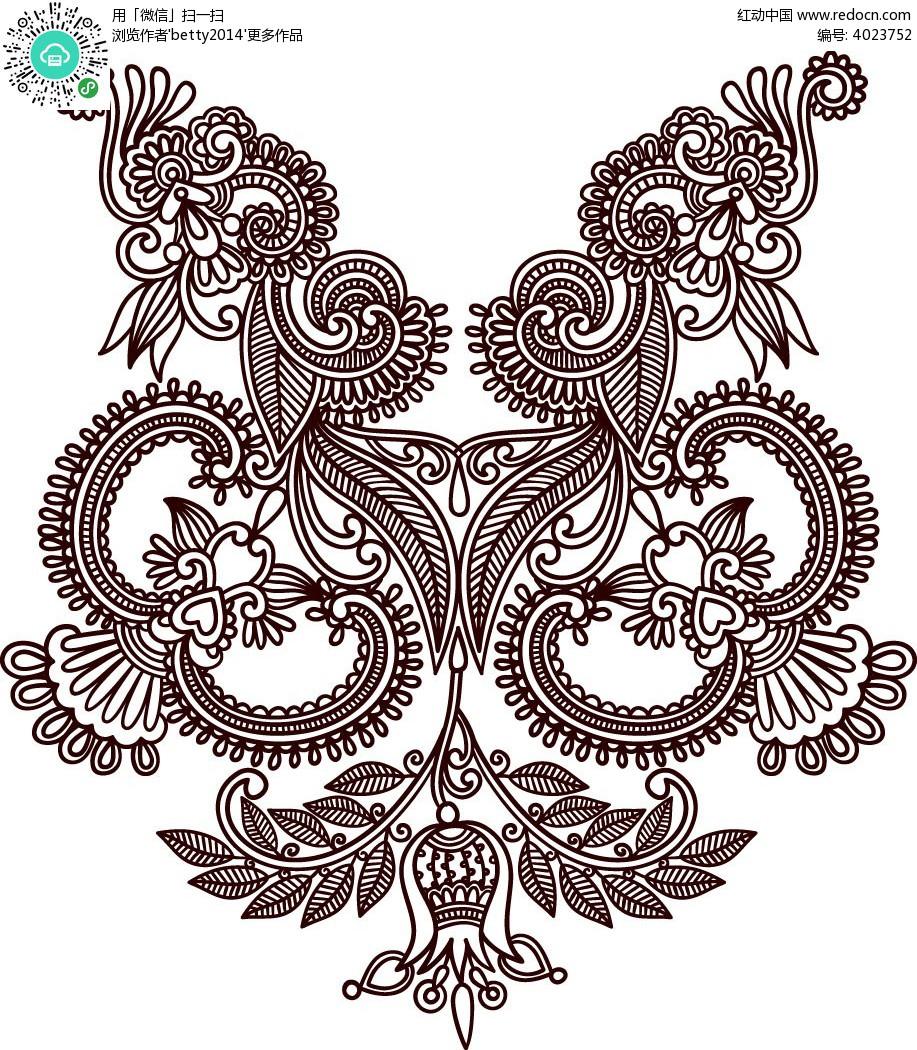 精美花纹手绘线描图形