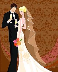 举起酒杯的新郎和新娘手绘矢量