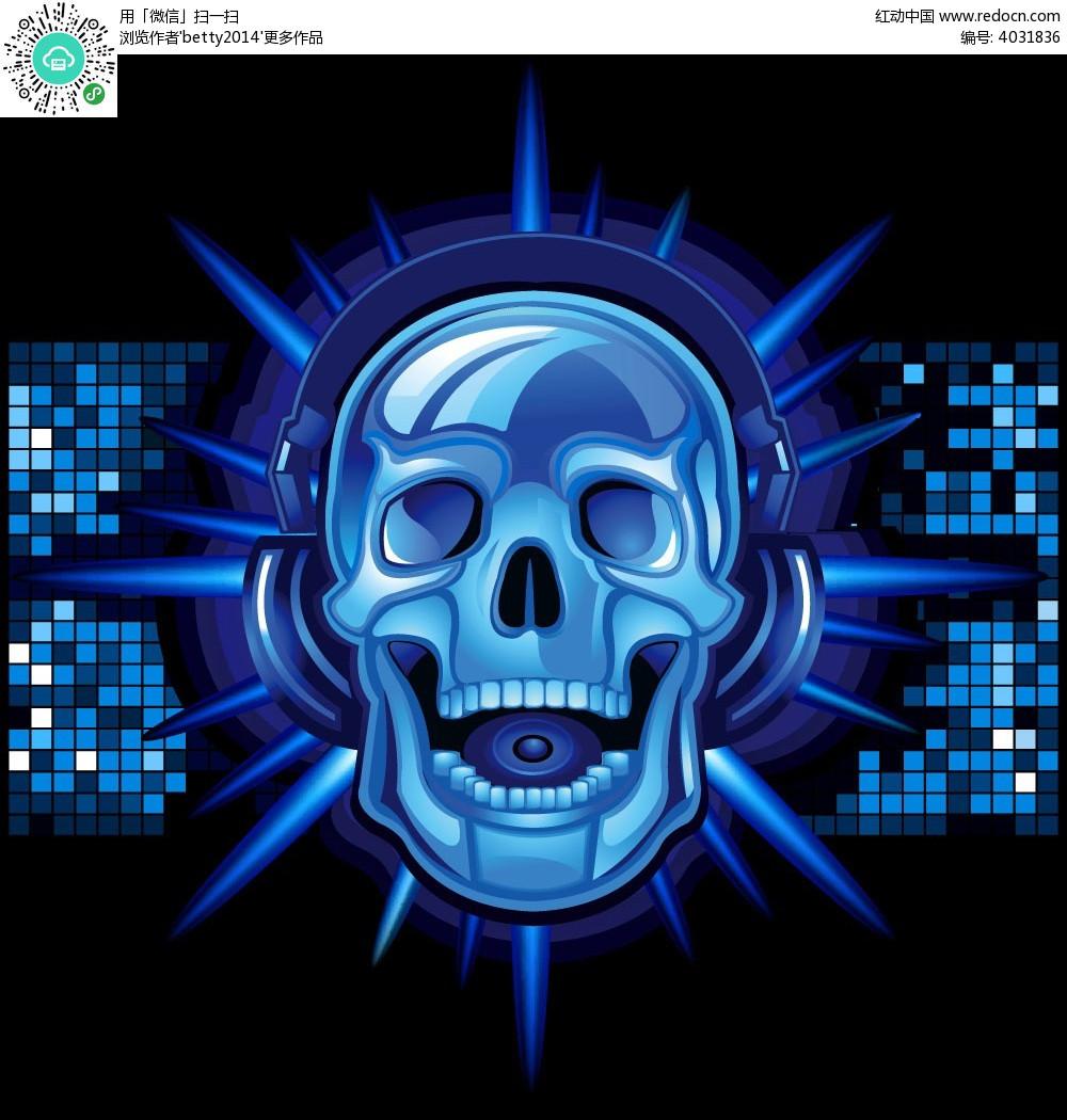 蓝色听音乐的骷髅头手绘画