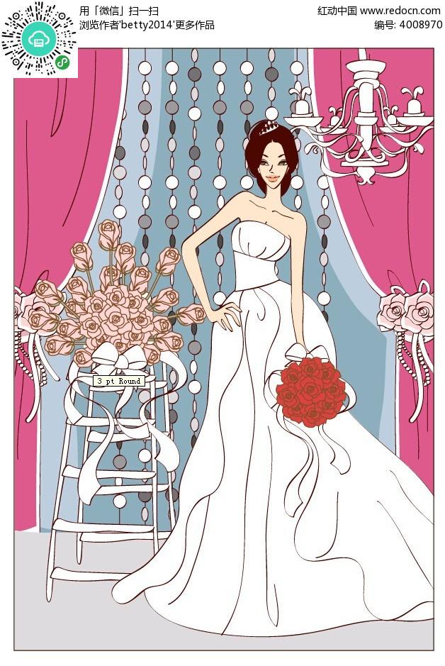免费素材 矢量素材 矢量人物 新人情侣 拿着玫瑰花束的穿婚纱的新娘