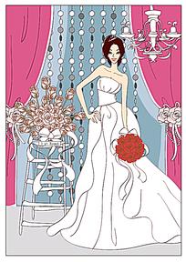 拿着玫瑰花束的穿婚纱的新娘手绘
