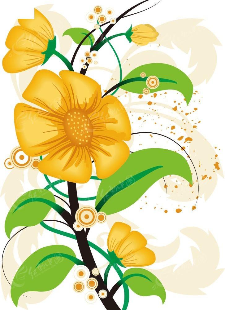 矢量黄色花枝边框素材
