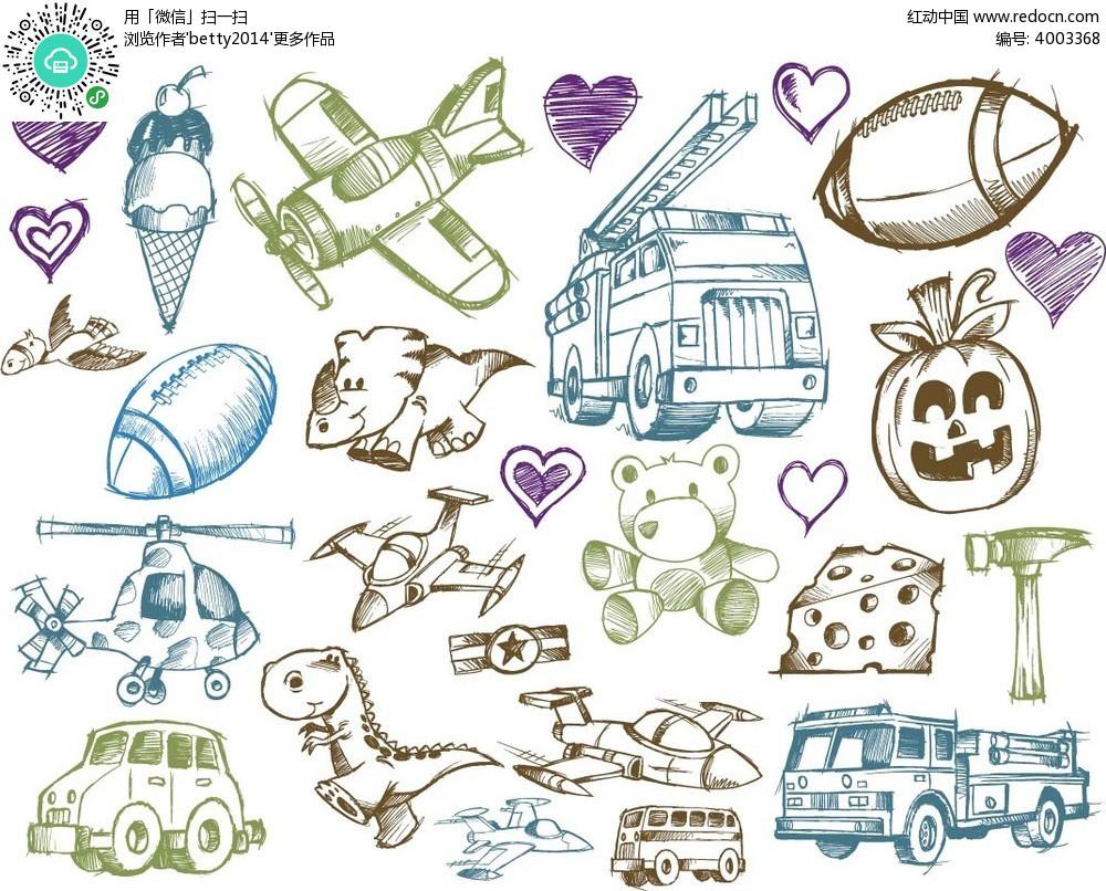 手绘冰淇淋和飞机等矢量元素