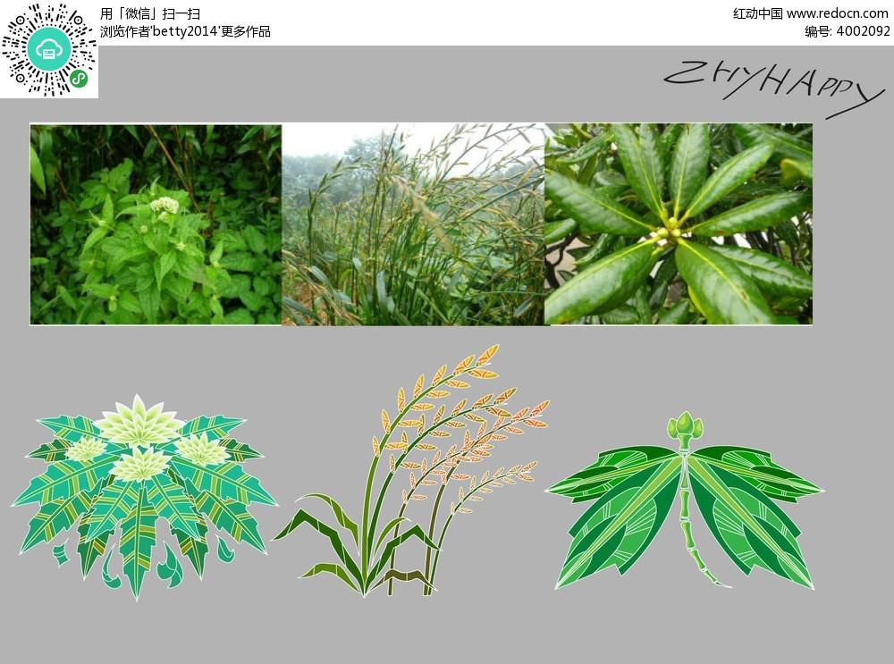 手绘绿色植物矢量素材