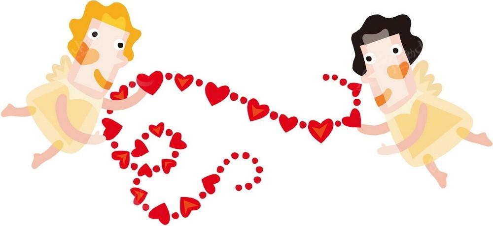 天使红色爱心串手绘插画