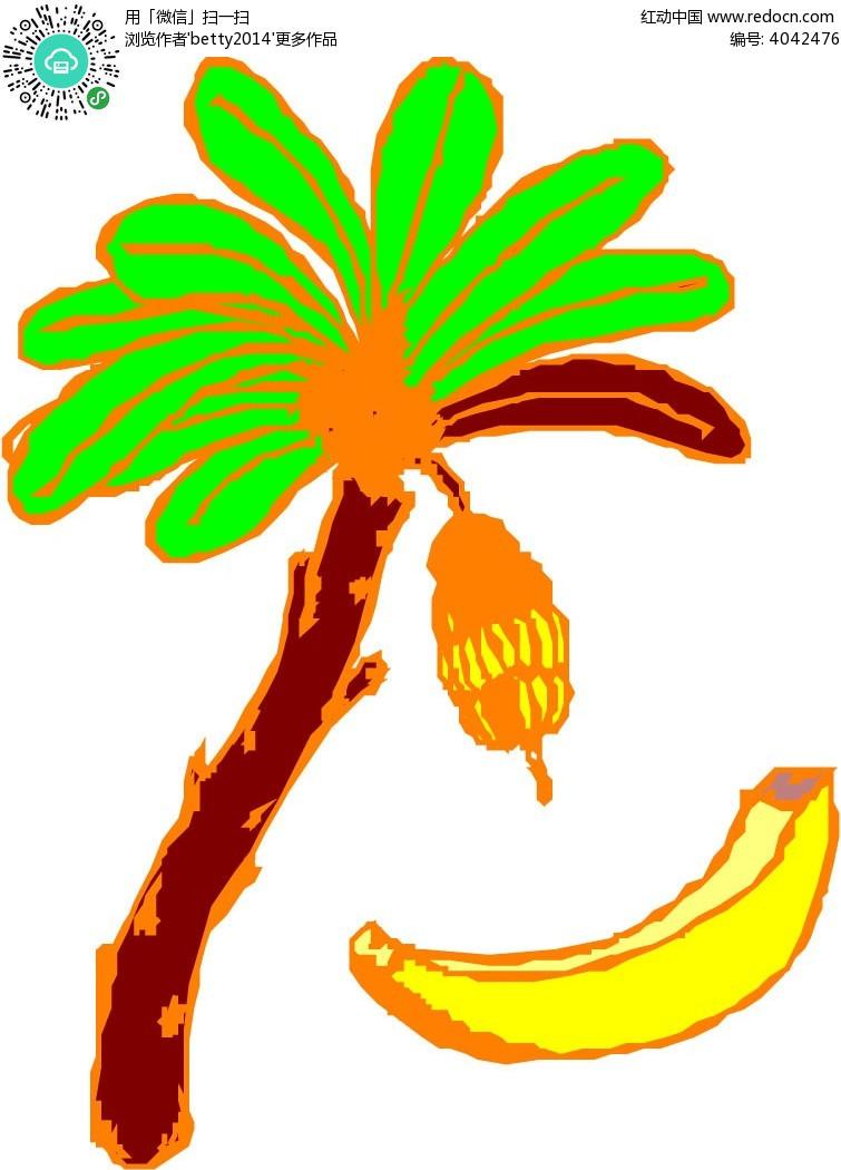 香蕉树香蕉手绘线描矢量图