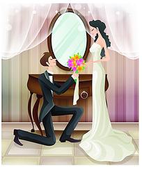 向女子跪下求婚的新郎手绘矢量素材