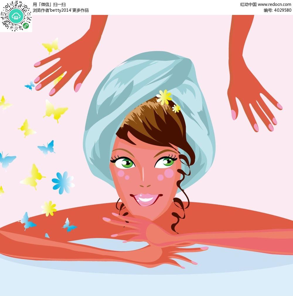 洗浴的美女手绘插画背景
