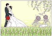 拥抱新娘的新郎手绘矢量素材