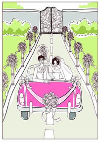 坐着婚车的新郎和新娘矢量素材