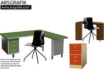 办公桌椅矢量素材