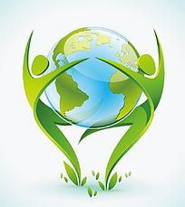 地球3D小人矢量素材