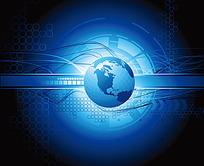 地球蓝色科技光影背景
