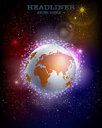 多彩星空地球背景图
