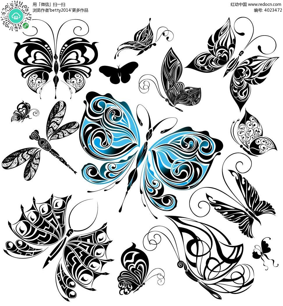黑白花纹蝴蝶素材 手绘蝴蝶