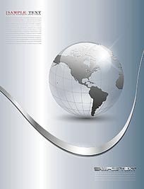 灰色地球动感曲线背景素材