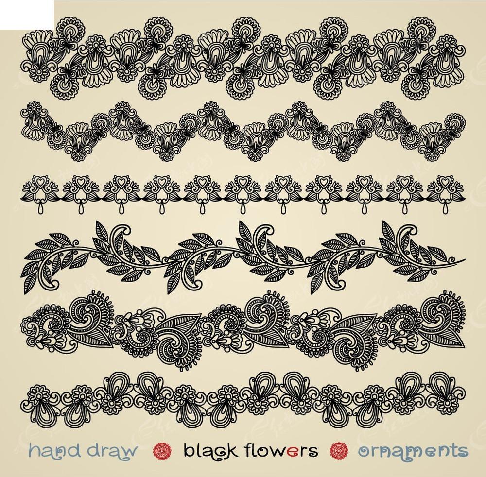 黑白花边边框素材