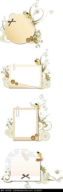 矢量印花图案-扣子边框欧式花纹卷纹ai素材免费下载()